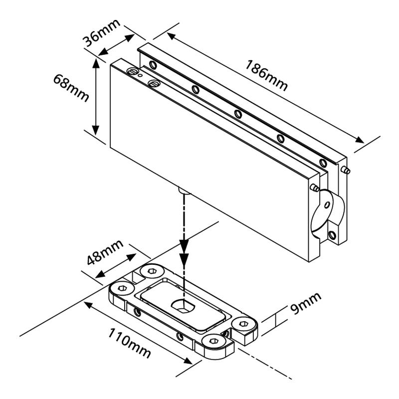 Hydraulic Patch Fitting for Glass Door